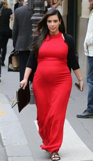 News Kim Kardashian lifestyle pregnancy in red photo dress 6