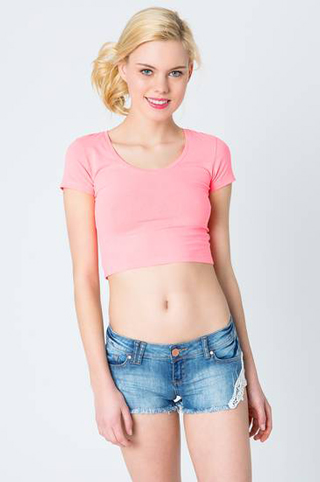 Tally-Weijl-Coral-Cropped-T-Shirt