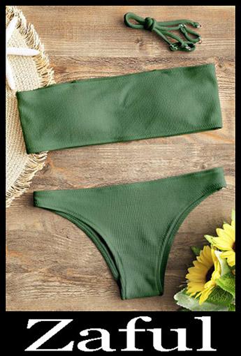 Strapless BikiniRibbed Texture Bandeau Bikini Set